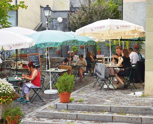 Terrasse du Café de la Poste à Cully (Lavaux)